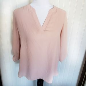Chaus Blush pink silk split V neck career blouse